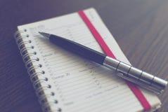 Penna på schema Fotografering för Bildbyråer