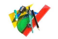 Penna, righello e squadra a triangolo Fotografia Stock Libera da Diritti