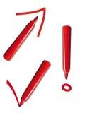 Penna rossa con i segni Fotografia Stock Libera da Diritti