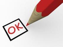 Penna rossa sul questionario Fotografia Stock Libera da Diritti