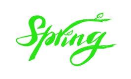"""Penna scritta a mano della spazzola che segna composizione con lettere """"primavera """" royalty illustrazione gratis"""