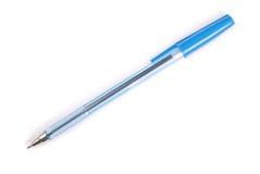 Penna a sfera di plastica blu Fotografie Stock Libere da Diritti