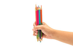Penna stabilita di colore della tenuta della mano della donna su fondo bianco isolato Immagine Stock