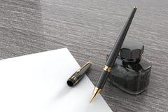 Penna stilografica con la bottiglia di inchiostro su una tavola di legno rappresentazione 3d Fotografia Stock