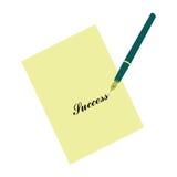 Penna stilografica e carta per appunti Successo motivazione di vendita di istruzione Immagine Stock Libera da Diritti
