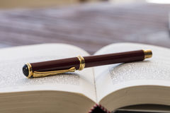 Penna stilografica su un libro Fotografia Stock Libera da Diritti