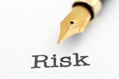 Penna stilografica sul testo di rischio Fotografia Stock
