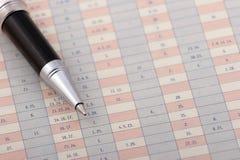 Penna su un diagramma Immagine Stock