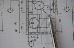 Penna sui modelli Concetto di ingegneria ed architettonico dell'alloggio Immagini Stock