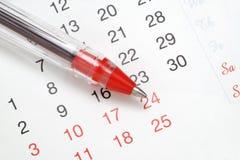 Penna sul calendario Fotografia Stock Libera da Diritti