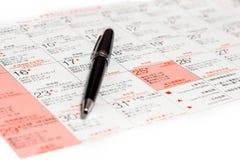 Penna sul calendario di Natale. Immagine Stock