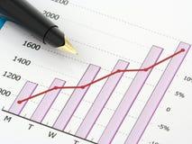 Penna sul diagramma Immagine Stock