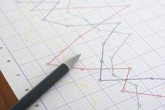 Penna sul grafico Fotografia Stock Libera da Diritti