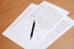Penna sul rapporto finanziario Fotografia Stock