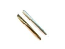 Penna två, guld- penna och silverpenna Royaltyfri Bild