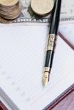 Penna in un libro Fotografia Stock