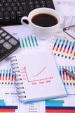 Penna, vetri, tastiera di computer e tazza di caffè sul grafico finanziario, concetto di affari Immagine Stock