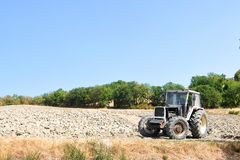 View of tracktor on the field stock images