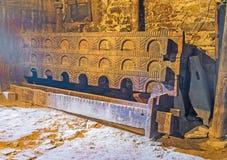 Pennan för djur i det medeltida Svan huset Arkivfoto