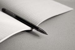 Pennan ligger på anteckningsboken för matematik entonighet arkivfoto
