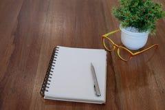 Pennan på den tomma anteckningsboken och färgrika exponeringsglas och blomkrukan uppvaktar på Royaltyfri Foto