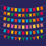 Pennant bunting collection. Color flat pennant bunting collection triangular and square in red, yellow, blue, green, orange colors at dark background in flat Stock Images
