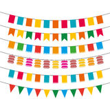 Pennant bunting collection. Color flat pennant bunting collection vector illustration Royalty Free Stock Image