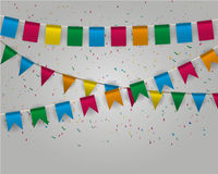 Pennant bunting collection. Color pennant bunting collection triangular and square red, yellow, blue, green, orange colors  confetti around, vector for web Royalty Free Stock Photography