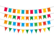 Pennant bunting collection. Colorful pennant bunting collection with stitch lines isolated on white backgound in flat design. vector illustration Royalty Free Stock Photo