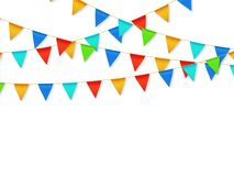 Free Pennant Flag Garland. Birthday Party Fiesta Carnival Decoration. Garlands With Color Flags 3d Vector Illustration Royalty Free Stock Images - 137820049