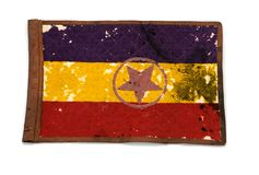 Pennant of a 1939 Republican armored brigade. Spanish civil war 2. Pennant of a Republican armored brigade, 2nd Company, 4th Battalion of Cieza, Murcia. 1939 stock image