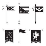 Pennant silhouettes - with lion, arrows,  crown and fleur de lys Stock Images
