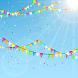Pennants on sky background. Pennants and colorful confetti on a sky background, illustration Royalty Free Stock Images
