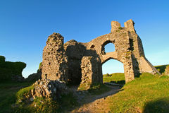 Pennard Castle, evening light. The ruins of Pennard castle, on the gower peninsula, south wales UK royalty free stock photography