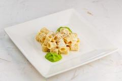 Penne面团用与帕尔马干酪和菠菜sause的一个乳脂状的调味汁 免版税库存照片