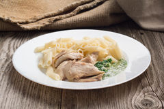 Penne макаронных изделий с цыпленком и домодельная петрушка sauce Стоковое Фото