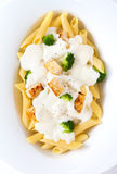 Penne Alfredo Overhead Royalty Free Stock Image