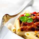 Penne all' amatriciana stock photography