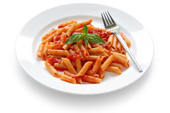 Penne all'arrabbiata , italian pasta Stock Image