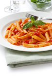 Penne all'arrabbiata , italian pasta Royalty Free Stock Images