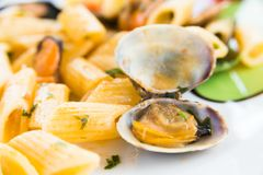Penne allo scoglio, italiensk mat Fotografering för Bildbyråer