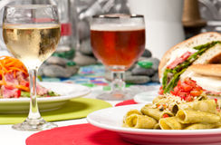 Penne and appetizers Royalty Free Stock Image