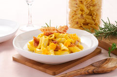 Penne with bacon and pumpkin Royalty Free Stock Photo
