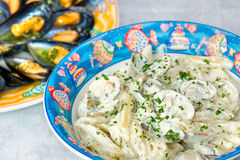 Penne in Barca (Penne with milk and clams) Stock Photography