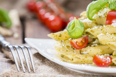 Penne with Basil Pesto Royalty Free Stock Photography