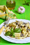 Penne in bechamel sauce with mushrooms. Royalty Free Stock Photos