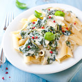 Penne with blue cheese sauce and spinach Stock Photography