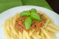 Penne with bolognese sauce Stock Image