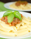 Penne with bolognese sauce Royalty Free Stock Photos