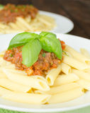 Penne with bolognese sauce Royalty Free Stock Image